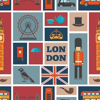 Лондонский бесшовный фон с британской темой и достопримечательностями