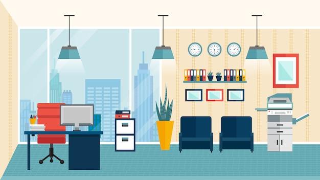 色付きのフラットモダンなオフィスインテリア