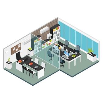 Цветной изометрический интерьер офиса на рабочем месте двух смежных комнат офиса и конференц-зала