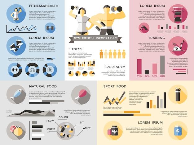 Тренажерный зал фитнес инфографика набор
