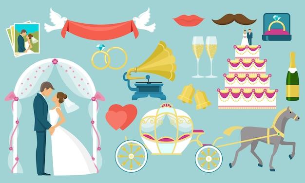 平らな結婚式の要素セット