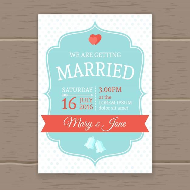 平らな結婚式の招待状