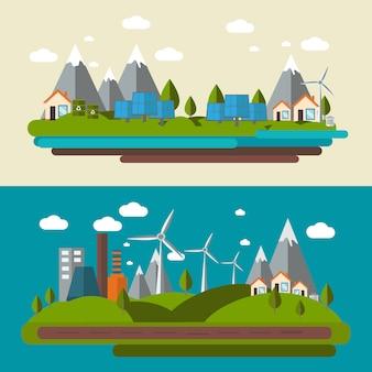 Экология иллюстрация набор