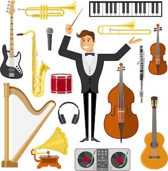 Набор плоских музыкальных элементов