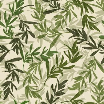 ヴィンテージの緑の葉のシームレスなパターン