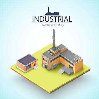 Производственные здания с серыми крышами на желтой платформе