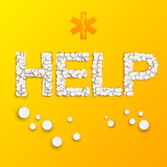 Абстрактный шаблон медицины с надписью помощи от таблеток и лекарств на желтом
