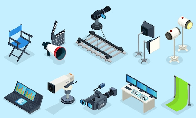 Изометрические элементы кинематографии с режиссерским креслом разных видеокамер