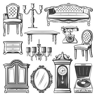 Старинные элементы мебели с креслом, диваном, люстрой, подсвечником, тумбочкой, шкафом, зеркалом