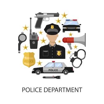 警察ラウンドデザイン