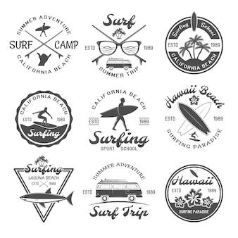 Набор эмблем для серфинга