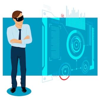 Бизнесмен в будущем иллюстрация