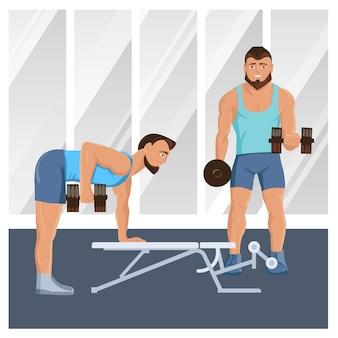 Мужские персонажи делают фитнес иллюстрации