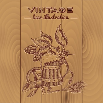ビールのビンテージスタイルのデザイン