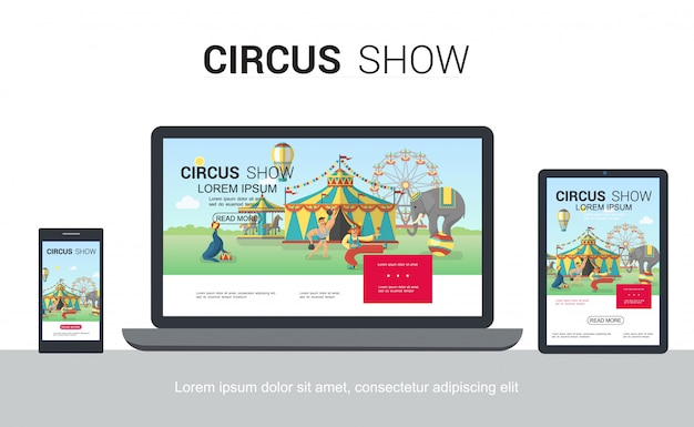 Плоский цирковой адаптивный дизайн веб-шаблона с обученным тюленем-слоном, жонглирующим клоуном, сильным человеком, палаткой, колесом обозрения, каруселью на мобильных экранах планшетных компьютеров
