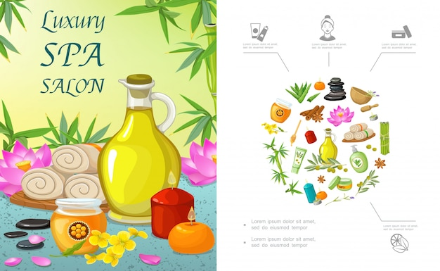 Плоский спа-салон шаблона с натуральным маслом с ароматом свечей, медовые полотенца, цветы лотоса, камни алоэ вера, бамбук, корица, оливковая ветвь