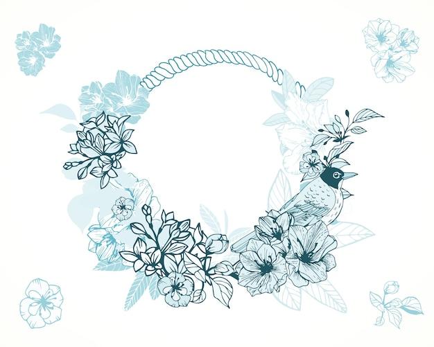 パステルロマンチックな花のフレーム