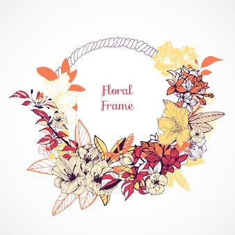 花のフレームのテンプレート