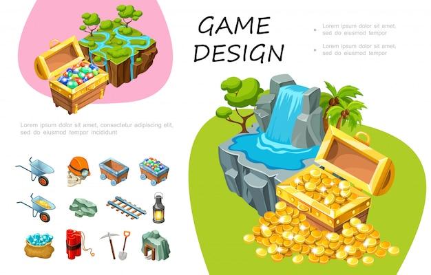 Композиция мультяшного игрового дизайна с сундуками с сокровищами драгоценных камней и холодных монет, водопадами, деревьями, элементами добычи