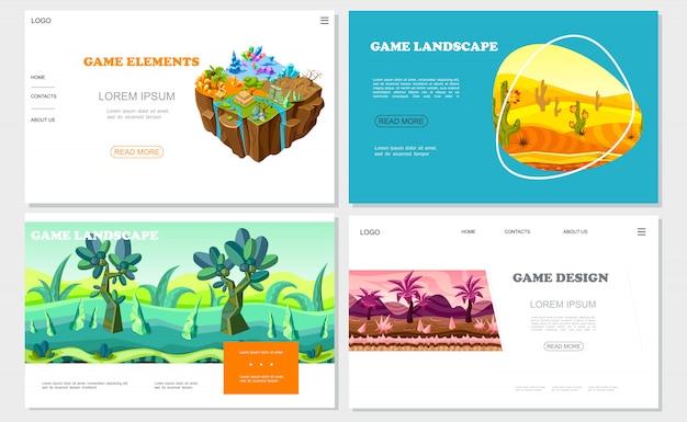 Изометрические игровые сайты с природным дизайном на разной территории минеральные камни пустынная река фантастические лесные и горные пейзажи