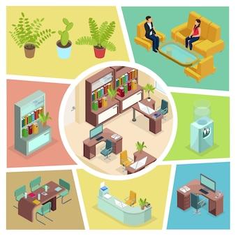 ビジネス人々の快適な家具植物本棚水クーラーコンピュータープリンターの話で等尺性オフィスインテリア構成