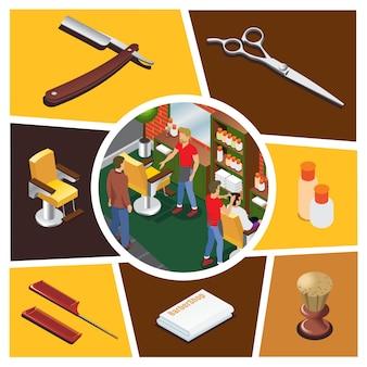 理髪店のはさみブラシタオル櫛化粧品ボトル椅子かみそりで美容師の顧客と等尺性理髪店要素構成