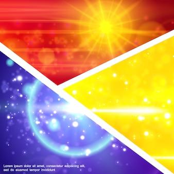 リアルなスタイルのキラキラした太陽光線グリッターフラッシュレンズフレアエフェクトを備えたカラフルなライトエフェクト構成