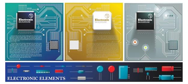 電気回路基板、ダイオード、トランジスタ、コンデンサー、抵抗器を備えたフラットな電子のカラフルな構成