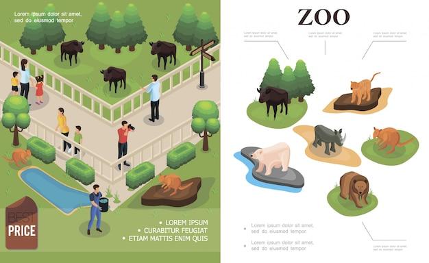 Красочная композиция в зоопарке с посетителями, которые наблюдают и фотографируют буйволов, кенгуру и разных животных в изометрическом стиле.