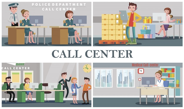 フラットな人々が警察署の医療銀行のピザフードデリバリーとギフトショップのコールセンターのオペレーターとサービス構成をサポート