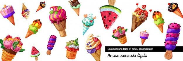 さまざまなフルーツとベリーの味のさまざまなデザインのアイスクリームと漫画の新鮮なアイスクリームバナー