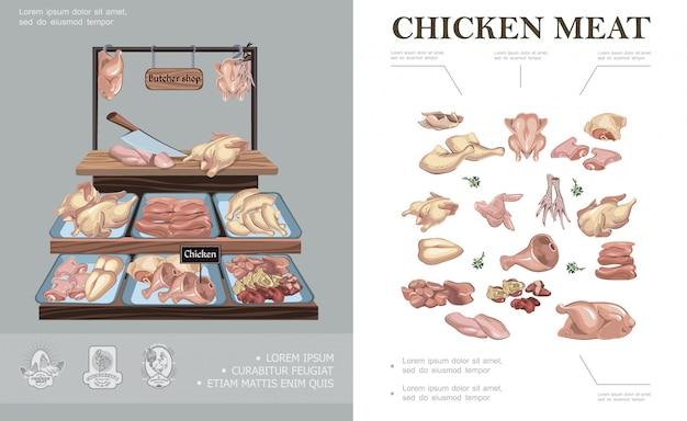 Мясной магазин красочная композиция с куриными ножками крылья бедра ноги грудка филе ветчина печень сердце на прилавке