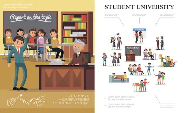 さまざまな状況で陽気な人々と大学のカラフルな構図の平らな人々