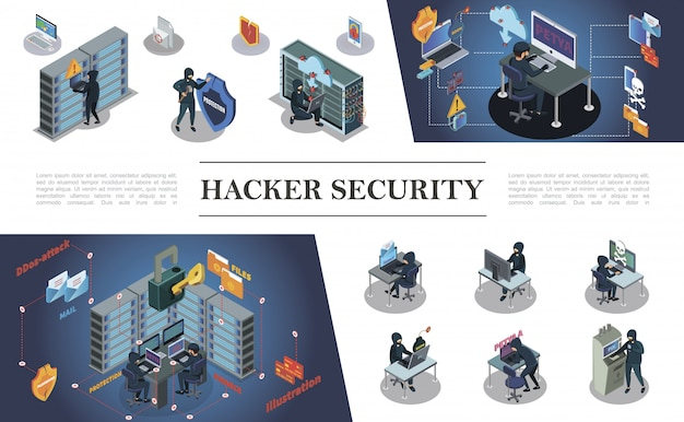 Изометрическая композиция хакерской активности с хакерами, совершающими различные интернет и киберпреступления