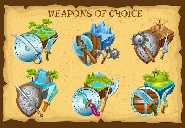 Набор иллюстраций оружия и игровых ландшафтов