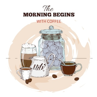 朝のコーヒー手描きの丸いデザイン