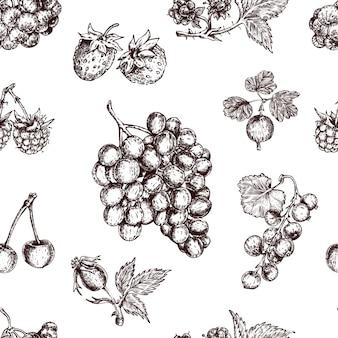 果実手描きのシームレスパターン