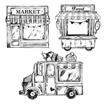 Винтажный магазин фасадный набор