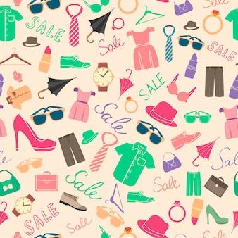 ファッションと服のアクセサリーのシームレスなパターン