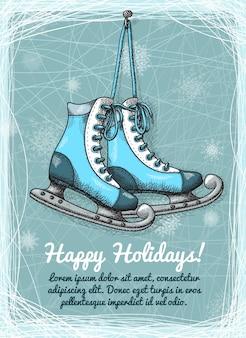 スケート休日の冬の招待状