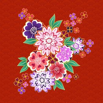 赤い背景に装飾的な着物の花のモチーフ