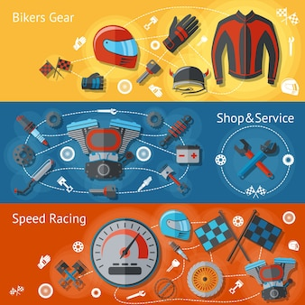 オートバイのバナーフラットセット