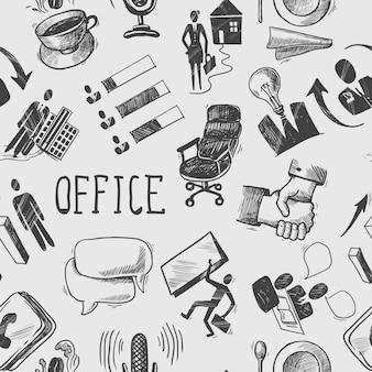 オフィススケッチシームレスパターン