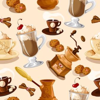 コーヒーシームレスパターン