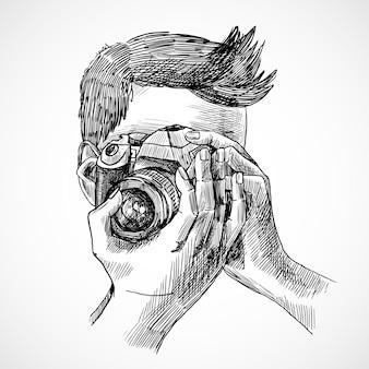 フォトグラファーのスケッチの肖像