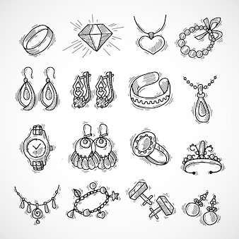 Набор значков ювелирных изделий