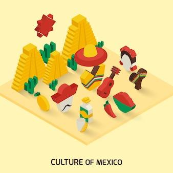 メキシコのアイコンアイソメ