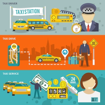 タクシーのバナーセット