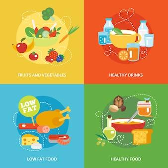 健康的な食事のフラットセット