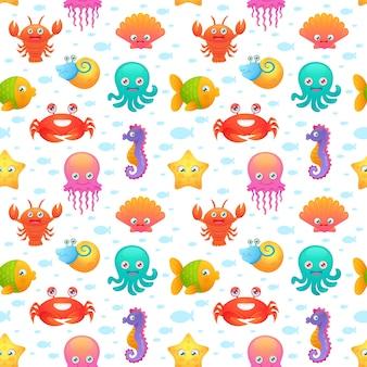 Симпатичные морские животные бесшовные модели